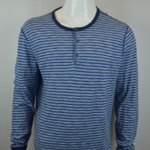 fd4482fa Lucky Brand Shirts | Mens Henley Tee Xl Striped Blue | Poshmark